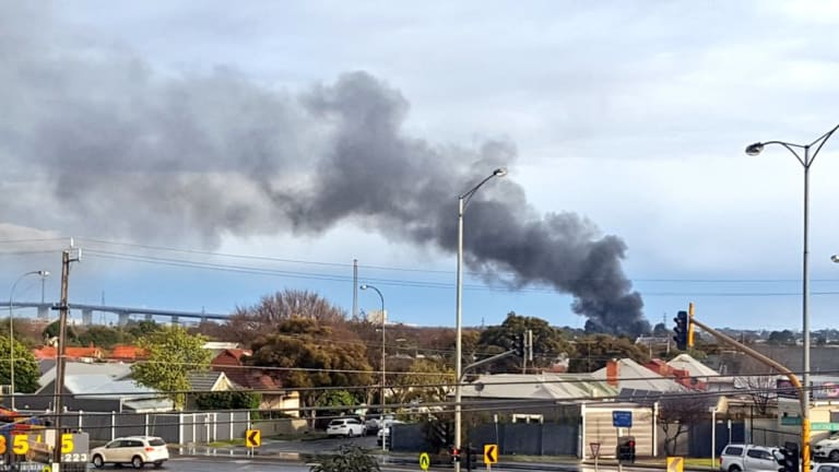 A large plume of smoke seen from the Yarraville house fire on Saturday.