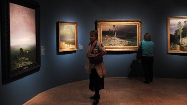 Part of the exhibition in the Tretyakov Gallery in Moscow from which the painting was stolen.