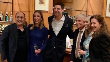 Sandy Anghie celebrating Mr Zempilas' victory at the Duxton Hotel with husband Michael Anghie, Seven West Media boss Kerry Stokes and Mr Zempilas' wife Amy Zempilas.