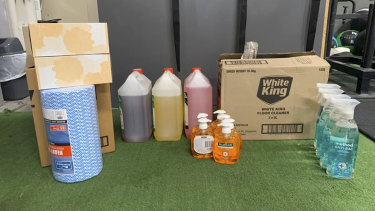Cleaning products used at Perth gyms.
