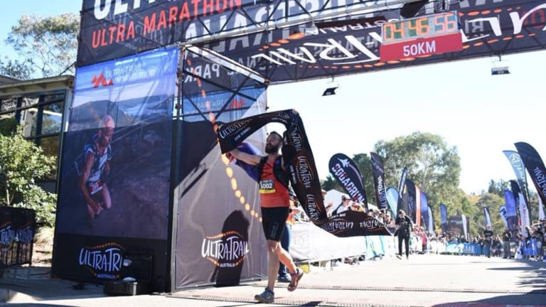 Canberran Sam Burridge won won the 50km ultra-trail race in the Blues Mountains on Saturday.
