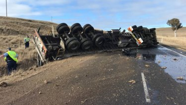 Delays on Monaro Highway near Cooma after truck rolls