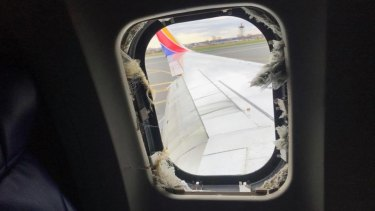 The blown-out window on the Southwest Airlines flight.