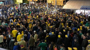 Overcrowded: Fans struggled to get in and out of Allianz Stadium and even to buy a beer.