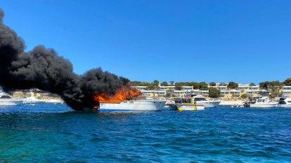 Emergency crews battle boat fire off popular Rottnest beach