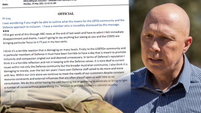 Defence emails reveal staff shame at Dutton's 'tone-deaf' IDAHOBIT morning tea ban
