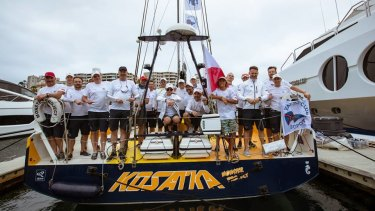 The crew from Yacht Club Sopot aboard the Kosatka Monster Project, which has been pulled from the Sydney to Hobart.
