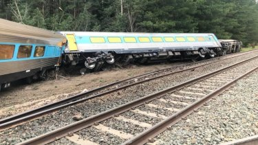 The derailed train at Wallan.