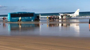 The bus was bogged overnight before a large rescue operation got underway.
