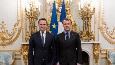 Brendan Berne, pictured with President Emmanuel Macron, finished his three-year post as ambassador earlier this month.