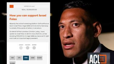 The Australian Christian Lobby is facilitating Israel Folau's fundraising efforts.