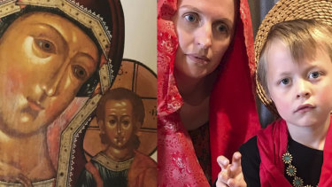 Karen Vincent is recreating famous art at home. In this picture, Vincent and her son Tobey form Our Lady of Kazan, 17th Century.
