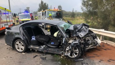 NSW Ambulance at the scene of a fatal crash on Friday.
