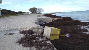 The first storm of autumn this year washed away a sign urging caution on the Lancelin beachfront.