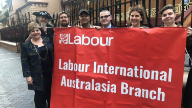 Labour leadership contender and the UK opposition's foreign spokeswoman Emily Thornberry, left, with Labour International members, including Secretary Reagan Ward (3rd from right) in Sydney, August 2019.