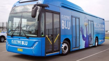 A Carbridge Toro electric bus at Sydney Airport.