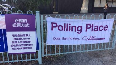 The signs outside a polling booth in the seat of Chisholm.