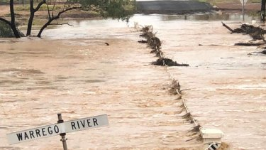 The Warrego River in Charleville on Monday.
