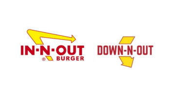 A composite image of US fast food outlet In-N-Out Burger's logo and an early version of the Australian Down N' Out logo.