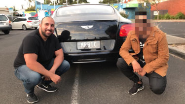 Auscoin founder Sam Karagiozis poses for a photo with his Bentley with personalised number plates reading MRBTC.