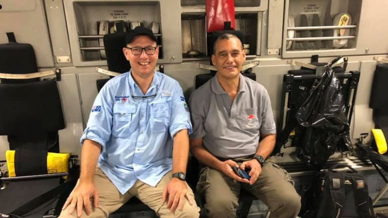 Dr Richard Harris and his dive partner Craig Challen in an image uploaded to Dr Harris' Facebook page on July 13, 2018, following the rescue mission at the Tham Luang cave in Thailand.