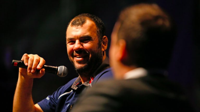 Good chat: Michael Cheika and Dave Wessels shoot the breeze at the Melbourne Rebels lunch.