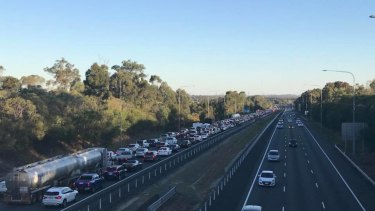 Motorcyclist in serious condition after multi-vehicle pile-up on the southbound lanes of the Bruce Highway.