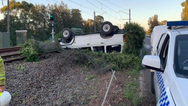 A vehicle rolled onto railway tracks on Sunday evening, blocking the Sydney to Newcastle line for an hour.