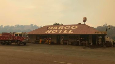 Firefighters at the Dargo Hotel on Sunday.