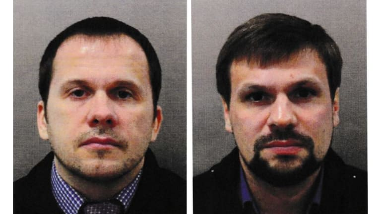 Alexander Petrov, left, and Ruslan Boshirov charged as the two Russians responsible for the Novichok poisonings of Sergei and Yulia Skripal in Britain. Boshirov's real identity has been revealed to be Colonel Anatoliy Vladimirovich Chepiga.