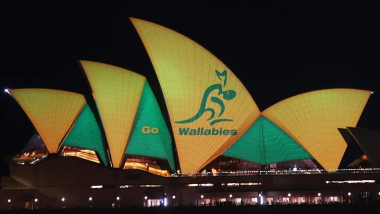 Go Wallabies: The Opera House sails were used in a show of support for Australia on the eve of the 2015 Rugby World Cup final.