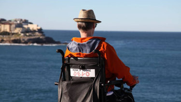 Man with a vision ... Justin Reid, campaigner for wheelchair access to the Bondi coastal path.