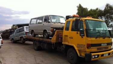 The tow truck before it was stolen and crashed in Sunshine.