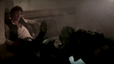 The scene from the original 1977 Star Wars in which Han Solo (Harrison Ford) shoots bounty hunter Greedo (Paul Blake).