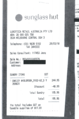 One employee bought Oakley sunglasses at Sunglass Hut for $196.