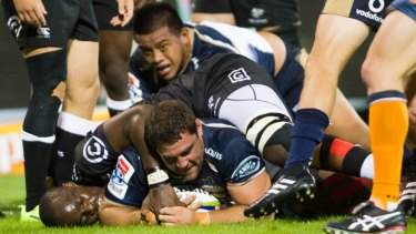 Determined: Josh Mann-Rae scores a try for the Brumbies.