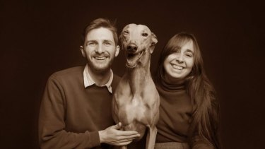 Jasmine Peucker is looking for a rental property in the tightest market Perth has experienced in over 40 years. Pictured here with her partner Cameron and their rescue greyhound Lucy.
