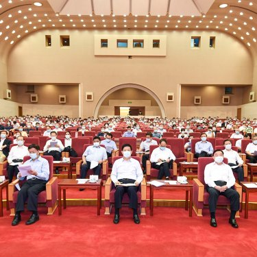 Senior party officials are in attendance at a learning session on the history of the Party in Beijing in June 2021.