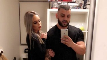 The happy couple - Rosa Adilovic and her boyfriend Gabriel Issa have been charged with running a cocaine delivery business.