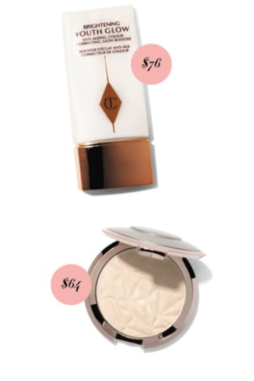 Charlotte Tilbury Brightening Youth Glow, $76. Becca Shimmering Skin Perfector, $64.