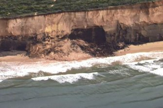 A section of sheer cliff known as Demons Bluff, near Anglesea in the Surf Coast, collapsed on Thursday morning.