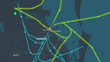 Brisbane Airport flight paths when there is a northerly wind.