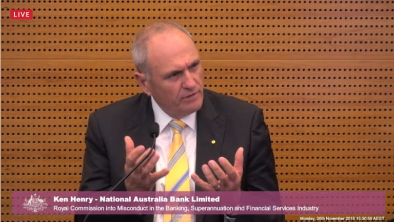 National Australia Bank chairman Ken Henry at the banking royal commission.