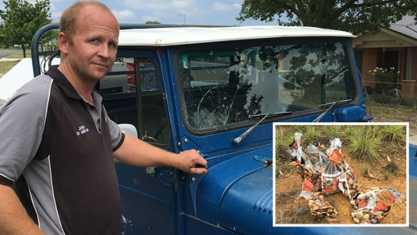 Windscreen smashed by potato cannon, six bags of spuds found nearby
