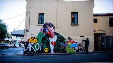 Street artist Scott Marsh's mural in Chapel Lane, Waterloo.