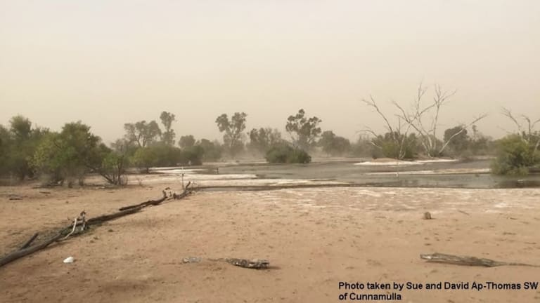 The dust was whipped-up by the trough in inland parts of the state, as shown in this picture taken near Cunnamulla, about 790km west of Brisbane.