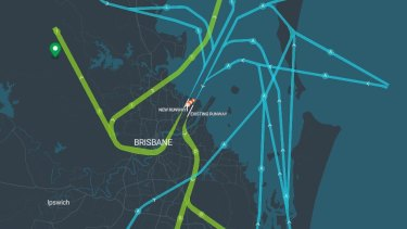 Brisbane Airport flight paths when there is a southerly wind.
