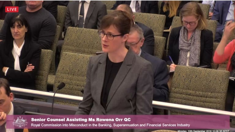 Senior Counsel Assisting Ms Rowena Orr at the Royal Commission hearing in Melbourne.
