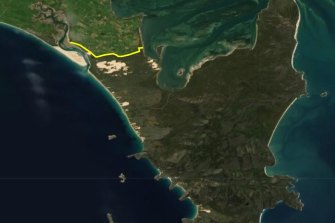 The planned fence will cross the Yabakie isthmus.