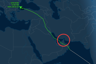 A Qantas flight en route from Perth to London on July 26 steers clear of the Strait of Hormuz.